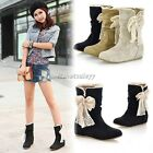 Women Winter Soft Warm Lace Bowknot Flat Heel Lady Snow Boot Mid-calf Shoes ItS7