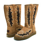 Women's Western Style Boots with Embroidery & Rustic Cut-Out Design - Tan