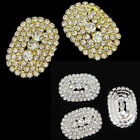 4Pcs Gold/Silver elliptic Clear Rhinestone Crystal Shank Hole Buttons Sewing DIY