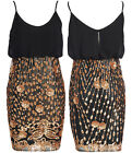 C47-BLACK CHIFFON FULL FLORAL SEQUIN SKIRT FULLY LINED CAMI PARTY MINI DRESS