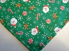 Dog Bandana Scarf Unisex Cotton Tie Slide On Christmas Green Santa Candy Canes