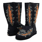 Women's Western Style Boots with Embroidery & Rustic Cut-Out Design - Black