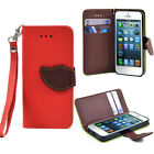 Flip Leather Wristlet Card Holder Wallet Phone Case New Cover for iPhone 5 5s