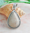 On Sale for Christmas Gift Turquoise Lover Silver Leaf Flower Gemstone Pendant