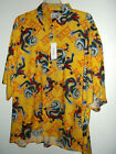 NWT ASIAN DRAGONHAWAIIAN SHIRT size XXL yellow or 3x black by MONTICERUTTI