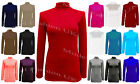 POLO NECK TOP STRETCH LADIES ROLL NECK LONG SLEEVE TURTLE NECK TOP 8-22