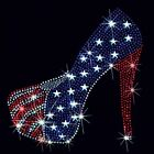American Flag Heel Rhinestone Women Sizes (R101)