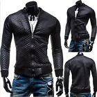 Sexy Muscle Men Faux Leather Slim Fit Coats Jackets Outwear Windbreaker Tops New