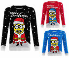WOMENS LADIES KNITTED MINION CHRISTMAS XMAS SNOW FLAKES MENS JUMPER TOP SWEATER