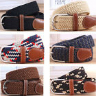Unisex Men Women Elastic Stretchy Woven Canvas PU Leather Pin Buckle Waist Belt