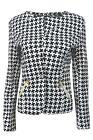 Womens Dog Tooth Print One Button Long Sleeves Blazer Ladies Size UK 8-14