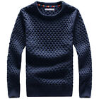 Fall Winter Men Round Neck Slim Pullover Long Sleeve Twist Knitted Thick Sweater