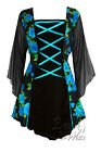PLUS SIZE Gothic MANDARIN Stretch Corset Style Top TEAL ROSE Szs 18/20 to 26/28