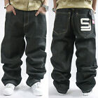 Mens Casual Baggy Denim Jeans Hip-Hop Rap Skateboard Loose Fashion Pant Trousers