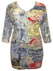 ULLA POPKEN Stretch Cotton Foil Print Tunic Top 3/4 Sleeves BLUES Size 16/18