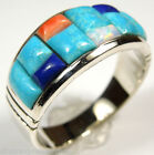 Multicolor & Turquoise, Opal Corn Inlay 925 Sterling Silver Men's Ring  Size 11