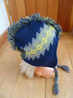 TOBY NYC NAVY GREY YELLOW HAIRY DINO MONSTER MOHICAN HAT PERUVIAN BNWT ONE SIZE