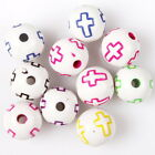 100/500pcs 112593 Print Colors Cross Round Ball Charms Acrylic Spacer Beads 10mm