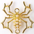 10/50pcs 145120 New Pearls Spider Plated Golden Charms Alloy Connector Pendants