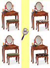 RK29 NEW OAK FINISH MAKE UP VANITY TABLE DESK WITH SEAT CUSHION BENCH & MIRROR