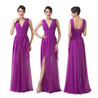 Deep V Neck Purple Chiffon Masquerade Ball Gowns Bridesmaid Evening Prom Dresses