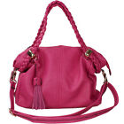 Women Leather Handbag Satchel Bag with Braided Straps and Tassel Accent