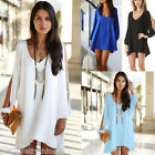 New Women's Loose V Neck Chiffon Tops Blouse Split Long Sleeve Casual Mini Dress