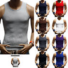 Men's  100% Cotton A-Shirt  Muscle Ribbed Tank Top Sleeveless T-Shirt Gym S-5X image