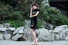 Внешний вид - Short Sleeve  Summer Chinese Cheongsam Cheong-Sam Qipao Dress-Fast Ship from USA