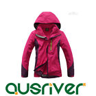 Premium Women Outdoor Climbing Hiking Sports Travel Hood Lined Jacket Coat Rose