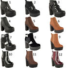 LADIES WOMENS CHUNKY CLEATED SOLE BLOCK HEEL PLATFORM CHELSEA ANKLE BOOTS SHOES