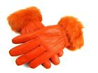LADIES ORANGE TERRACOTTA FAUX FUR TRIM REAL LEATHER FULLY LINED GLOVES EVERYDAY