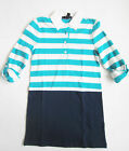 Gap Kids Girls Dress NWT ¾ Sleeve 100% Cotton Blue Rugby Stripe Knee Length