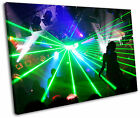 Night Club Ibiza Green Lasers DJ Framed Canvas Wall Art Picture Print