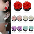 1Pair 8-25mm 4 Colors Rose Acrylic Double Saddle Ear Plugs Gauges Flesh Tunnels