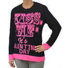 """Womens """" Kiss Me It's Valentines Day"""" Printed Knitted Jumper Sweater Size 8-14"""