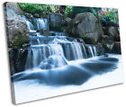 Waterfall Oriental Gardens Framed Canvas Wall Art Picture Print