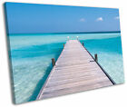 Maldives Seascape Blue Framed Canvas Wall Art Picture Print