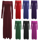 C63-WOMENS RED GREEN PINK BLUE PLAIN OFF SHOULDER FULL LENGTH MAXI DRESS-8-22