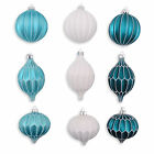 Set Of Three Hanging Glass Christmas Tree Baubles in Frosty Finish