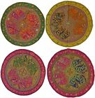"""Elephant Circle Wall Hanging Indian Sequin Tapestry Embroidered 34"""" 86cm Brown"""