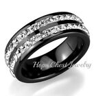 WOMEN'S STAINLESS STEEL BLACK CERAMIC 8MM 2 ROW CRYSTAL WEDDING RING SIZE 6,7,8