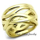 WOMEN'S GOLD TONE STAINLESS STEEL INTERTWINED WIDE BAND STATEMENT RING SIZE 5-10