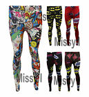Womens Super Hero Comic Printed Full Length Stretchy Ankle Leggings Pants 8-26
