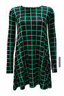 New Womens Long Sleeve Square Check Print Skater Flared Swing Dress Top 8-14