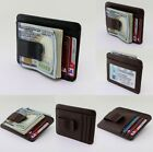 Men's Black or Mahogany Brown PU Leather Wallet for I.D. Credit Cards Money Clip