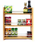 SOLID OAK SPICE RACK 3 TIERS OPEN TOP DEEP SHELVES KITCHEN STORAGE WALL WORKTOP