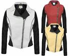 NEW LADIES WOMENS PVC PU FAUX LEATHER CONTRAST BOMBER BIKER JACKET SIDE ZIP 8-14