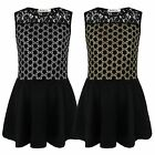 GIRLS LACE TOP GLITTER DOT SKATER DRESS KIDS SLEEVELESS PARTY CASUAL 3-14 YEARS