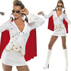 Ladies White Elvis Dress Fancy Dress Costume 1950s 1960s Music Smiffys 33252